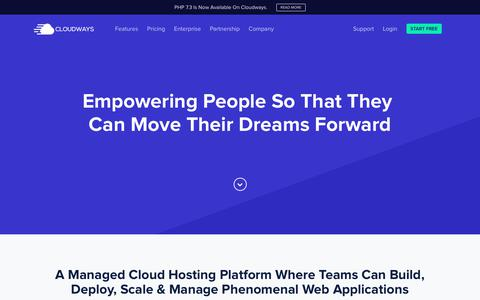 Screenshot of About Page cloudways.com - About Cloudways - Empowering Everyone To Achive Their Dreams - captured April 17, 2019