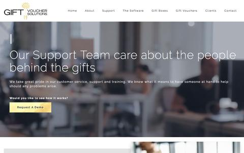 Screenshot of Support Page giftvouchersolutions.com - Gift Voucher Solutions   Customer Service & Support - captured July 18, 2018