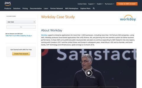 Screenshot of Case Studies Page amazon.com - Workday Case Study - Amazon Web Services (AWS) - captured May 8, 2019