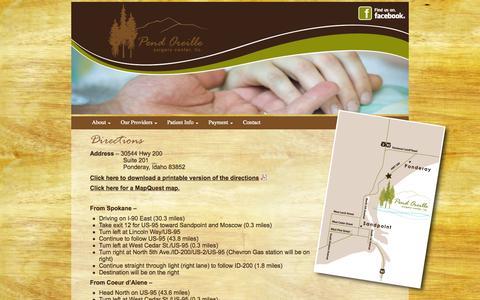 Screenshot of Maps & Directions Page poscllc.com - Pend Oreille Surgery Center - captured Oct. 2, 2014