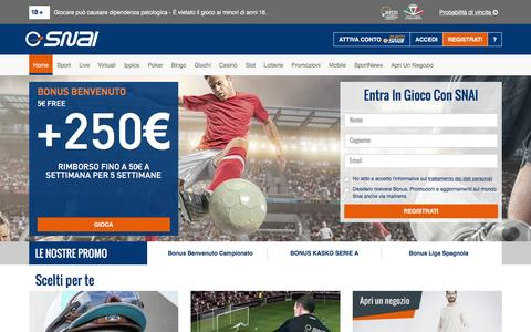 Screenshot of Home Page snai.it - Scommesse Sportive, Slot, Giochi e Casinò Online | SNAI - captured Aug. 21, 2016