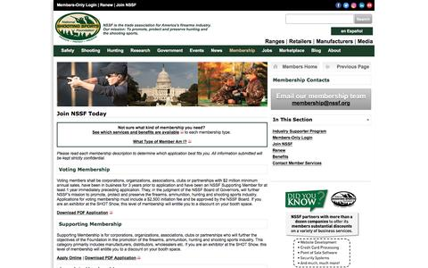 Screenshot of Signup Page nssf.org - Join NSSF | Membership - captured Dec. 5, 2016