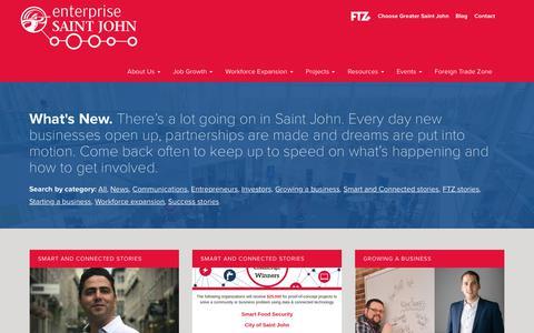 Screenshot of Blog enterprisesj.com - What's New - Enterprise Saint John - captured Sept. 28, 2018