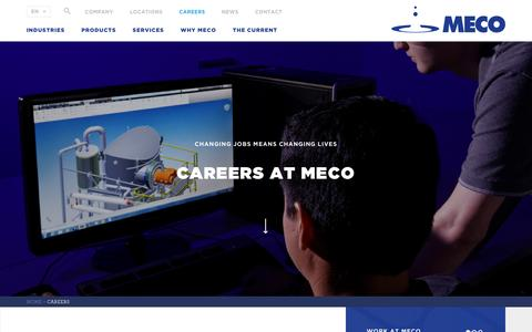 Screenshot of Jobs Page meco.com - Careers - Become a Valued Member - MECO - captured May 26, 2017