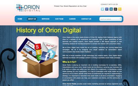 Screenshot of About Page oriondigital.in - Digital Marketing agencies in Delhi NCR | Digital agencies | Social media agencies in Delhi NCR | Mumbai | Hyderabad | Bangalore | Social Marketing | Digital Media - captured Oct. 26, 2014