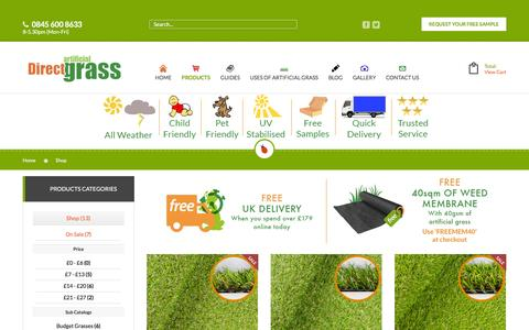 Screenshot of Products Page direct-artificial-grass.co.uk - Shop - captured Aug. 2, 2016
