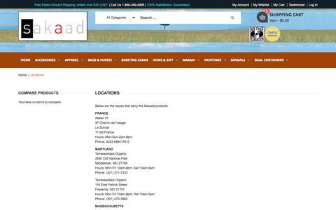Screenshot of Locations Page sakaad.com - Sakaad :: Just Beautiful - Locations - captured June 11, 2016
