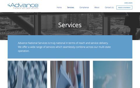 Screenshot of Services Page advancenational.com.au - Services - Advance National Services - captured Feb. 5, 2016