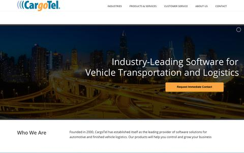 Screenshot of Home Page cargotel.com - CargoTel – Transportation Management System, Finished Vehicle Logistics, EDI services and systems - captured Sept. 27, 2018