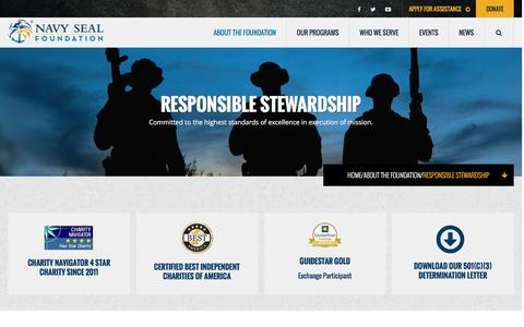 Screenshot of FAQ Page navysealfoundation.org - Responsible Stewardship - Navy SEAL FoundationNavy SEAL Foundation - captured Dec. 12, 2016