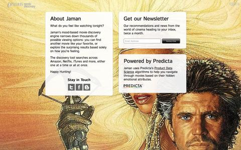 Screenshot of About Page jaman.com - About - Jaman Movie Discovery - captured Dec. 29, 2015