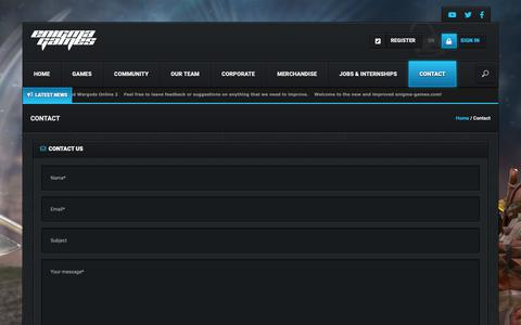 Screenshot of Contact Page enigma-games.com - Contact - Enigma Games - captured Sept. 28, 2018