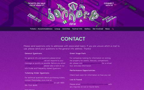 Screenshot of Contact Page bonnaroo.com - Contact Us   Bonnaroo 2016 - captured Jan. 20, 2016