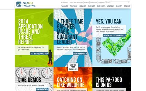 Screenshot of Home Page paloaltonetworks.com - Network Security – Next Generation Firewalls by Palo Alto Networks - captured July 10, 2014