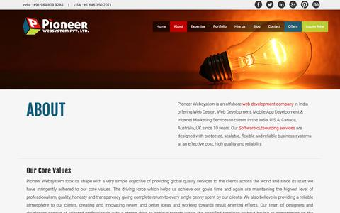 Screenshot of About Page pioneerwebsystem.com - Web Development company India | Offshore Internet Marketing | Pioneer Websystem India - captured Oct. 25, 2018