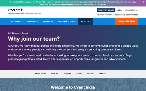 Screenshot of Jobs Page cvent.com - Careers at Cvent, Current Openings | Cvent India - captured July 20, 2018