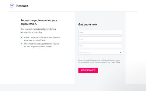 Screenshot of Pricing Page interact-intranet.com - Pricing Quote | Interact software - captured Nov. 9, 2018