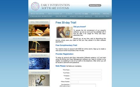 Screenshot of Trial Page earlyinterventionsoftware.com - Early Intervention Software Systems - captured Jan. 24, 2016