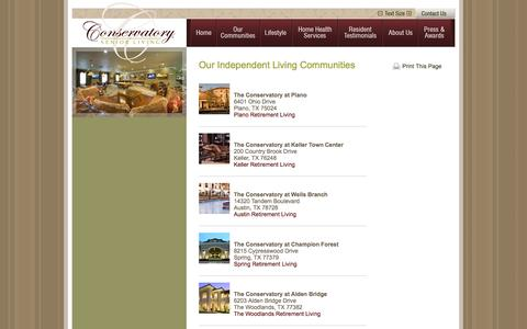 Screenshot of Contact Page Locations Page conservatoryseniorliving.com - Our Independent Living Communities | Conservatory Senior Living - captured Oct. 22, 2014