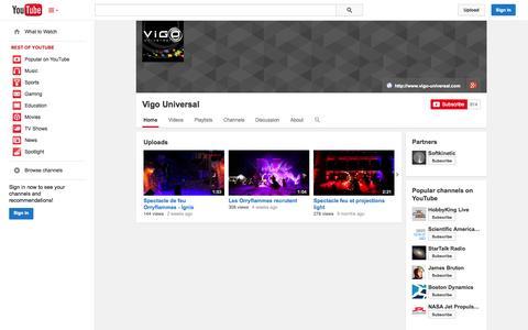 Screenshot of YouTube Page youtube.com - Vigo Universal  - YouTube - captured Oct. 25, 2014