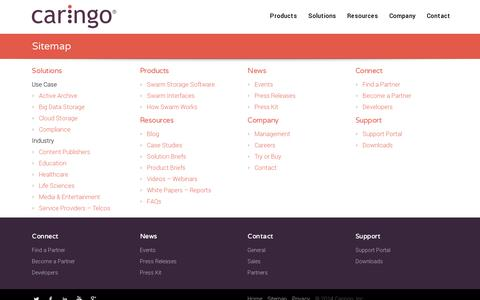 Screenshot of Site Map Page caringo.com - Sitemap | Caringo - captured July 19, 2014