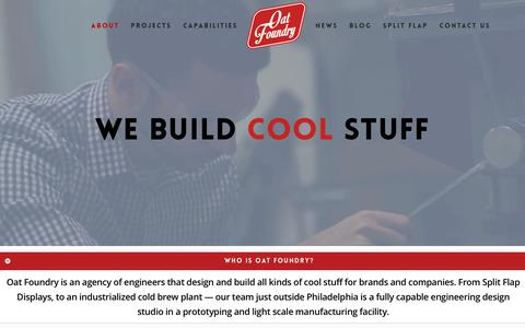 Screenshot of About Page oatfoundry.com - Electromechanical Design & Product Development   Brand Activation & Fabrication - captured Nov. 10, 2017