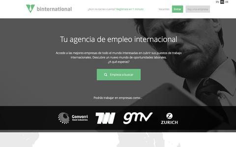 Screenshot of Home Page binternational.net - Encuentra ofertas de empleo internacional - BInternational - captured June 17, 2015