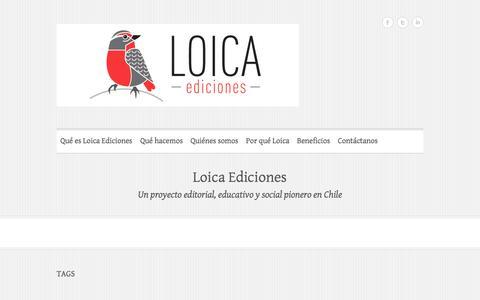 Screenshot of Home Page loicaediciones.cl - Loica Ediciones | Un proyecto editorial, educativo y social pionero en Chile - captured Sept. 30, 2014