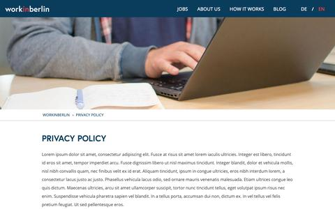 Screenshot of Privacy Page work-in-berlin.com - Privacy Policy | Work in berlin - captured Nov. 16, 2018