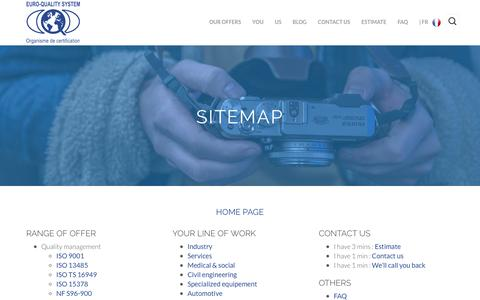 Screenshot of Site Map Page euroqualitysystem.com - Sitemap - EURO-QUALITY SYSTEM - captured July 10, 2016