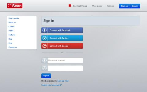 Screenshot of Login Page scan.me - Sign in     | Scan - captured Sept. 17, 2014