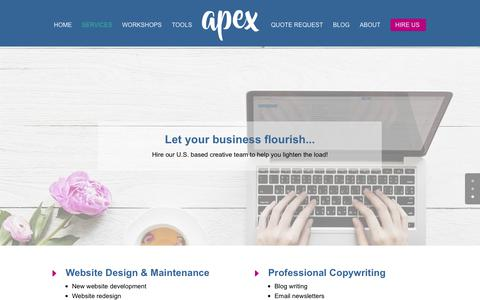 Screenshot of Services Page apexassisting.com - Hire a Creative Virtual Assistant | Atlanta Virtual Assistants - captured Oct. 3, 2018
