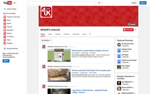 Screenshot of YouTube Page youtube.com - 4theUK's channel  - YouTube - captured Nov. 3, 2014