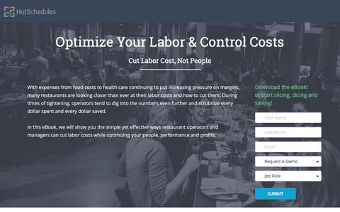Screenshot of Landing Page hotschedules.com - Optimize Labor and Control Costs - captured April 28, 2017