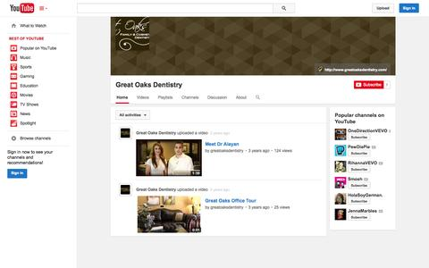 Screenshot of YouTube Page youtube.com - Great Oaks Dentistry  - YouTube - captured Oct. 23, 2014