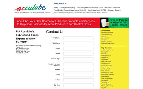 Screenshot of Contact Page acculube.com - Metalworking Lubricants & Industrial Greases For OH, IN, KY - captured May 29, 2017