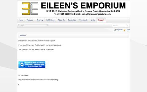Screenshot of Support Page eileensemporium.com - Support - captured Oct. 8, 2014