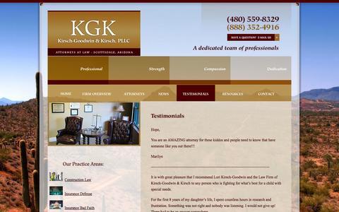 Screenshot of Testimonials Page kgklaw.com - Testimonials | Kirsch-Goodwin & Kirsch, PLLC | Scottsdale Arizona - captured Oct. 1, 2014