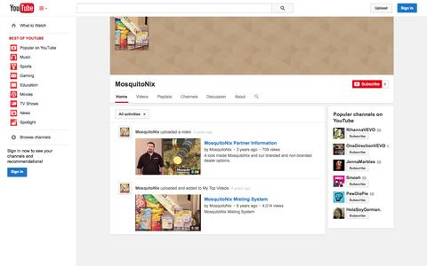 Screenshot of YouTube Page youtube.com - MosquitoNix  - YouTube - captured Oct. 29, 2014