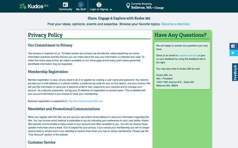 Screenshot of Privacy Page kudos365.com - Kudos 365 Privacy Policy - captured Oct. 16, 2018