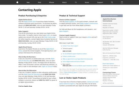 Screenshot of Contact Page apple.com - How to Contact Us - Apple (UK) - captured April 8, 2017