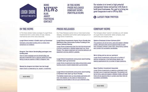 Screenshot of Press Page loughshore.co - Lough Shore Investments: News - captured Oct. 3, 2014