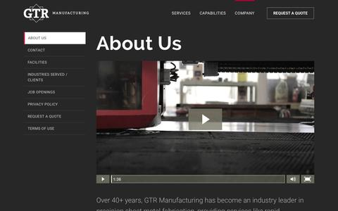 Screenshot of About Page gtrmfg.com - About GTR Manufacturing | Learn About GTR Manufacturing - captured Jan. 25, 2016