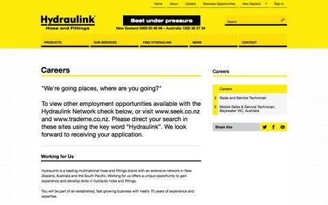 Screenshot of Jobs Page hydraulink.com - Hose & Fittings, Hydraulics, 24/7, Lubrication Systems, Fire Suppression - captured Oct. 3, 2014