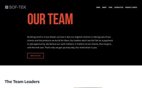 Screenshot of Team Page sof-tek.com - Team — SOF-TEK - captured Aug. 14, 2016