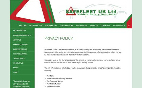 Screenshot of Privacy Page safefleet.co.uk - Privacy Policy | Safefleet - captured Oct. 1, 2014