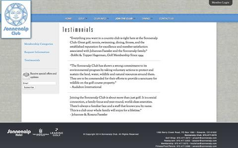Screenshot of Testimonials Page sonnenalpclub.com - Testimonials - Sonnenalp Club - captured March 14, 2016