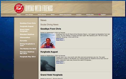 Screenshot of Press Page euro-divers.com - Scuba Diving News - captured Sept. 18, 2014