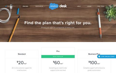 Screenshot of Pricing Page desk.com - Pricing Plans | Desk.com - captured Aug. 19, 2016