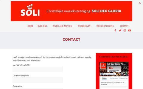 Screenshot of Contact Page sdgalblasserdam.nl - Contact opnemen met Chr. Muziekvereniging Soli Deo Gloria - captured Sept. 28, 2018